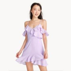 ส่วนลด POMELO ราคาพิเศษ Mini Textured Ruffle Cold Shoulder Dress(ม่วง)