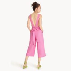 โปรโมชั่น Pomelo ลดราคา จัมพ์สูท Open Back Bow Tie Jumpsuit สีชมพู